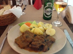 beef tongue with olives and potatoes