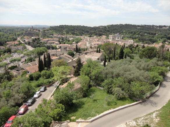 view of Villeneuve-les-Avignon from atop one of the towers of Fort Saint-André