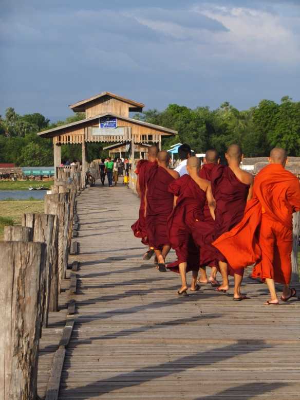 Monks at U Bein Bridge, Amarapura
